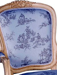 A Photo Of Toile De Jouy Fabric On French Reproduction Style Chair