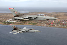 Two Panavia Tornado F3 of No. 1435 Flight patrolling the skies over the Falkland Islands.