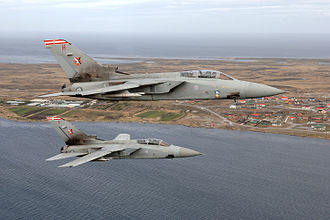 RAF Mount Pleasant - Two Panavia Tornado F3 of No. 1435 Flight patrolling the skies over the Falkland Islands.