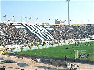 PAOK football fans in Toumba Stadium, Thessalo...