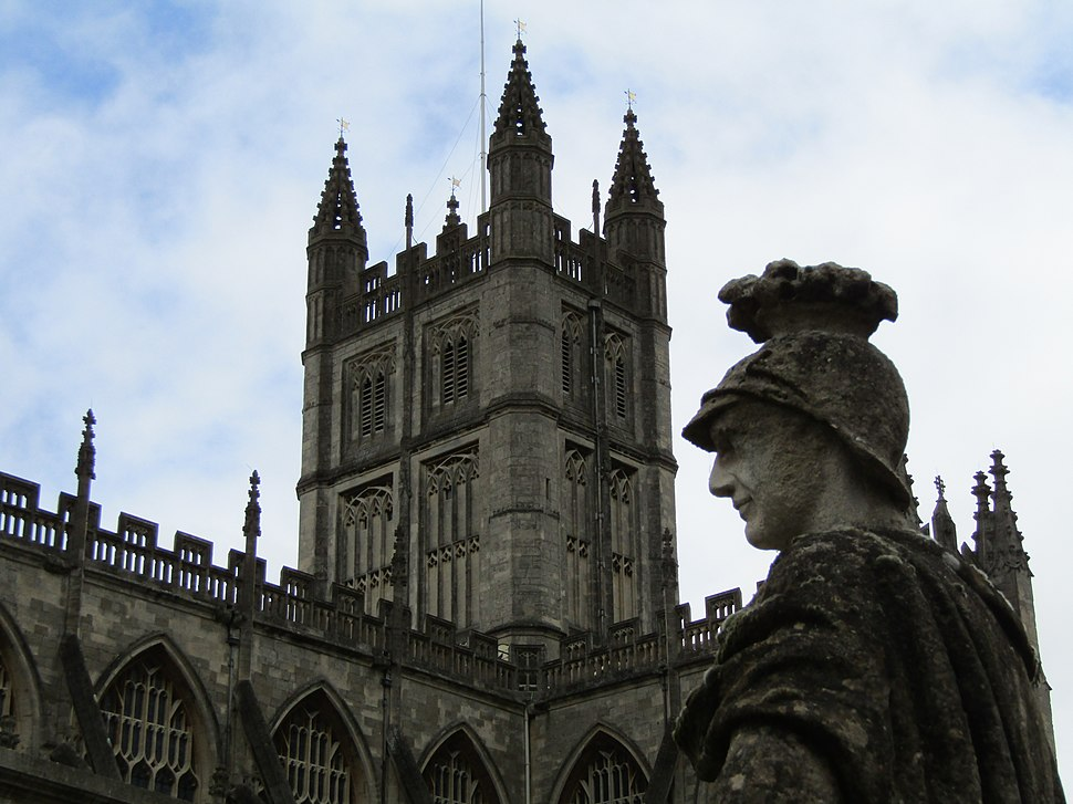 Tower of Bath Abbey as seen from the Roman baths