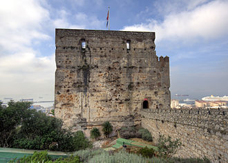 Moorish Gibraltar - The Moorish Castle's Tower of Homage, the largest surviving remnant of Moorish Gibraltar. The dents in its eastern wall were caused by Castilian siege engines in 1333.