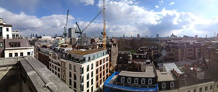 View looking southeast from the tower, showing many of the landmarks of London. Tower view 2013.jpg