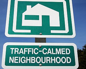 """Traffic-calmed neighbourhood"" sign ..."
