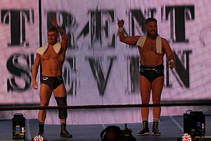 Trent Seven and Tyler Bate enter Axxess crop.jpg