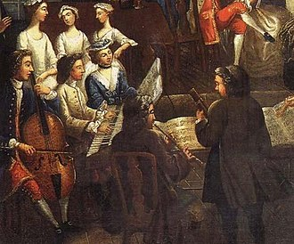 Baroque musicians playing a trio sonata, 18th century anonymous painting TrioSonata.jpg