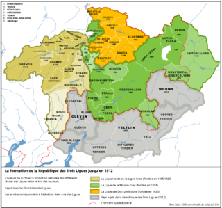 confederation formed in 1395 in the Vorderrhein and Hinterrhein valleys, Raetia (in modern-day Switzerland), named after the homespun grey clothes worn by the people; one of the Three Leagues