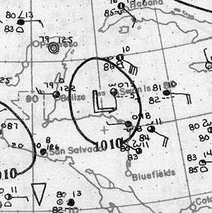 1928 Atlantic hurricane season - Image: Tropical Storm Three Analysis 4 Sep 1928
