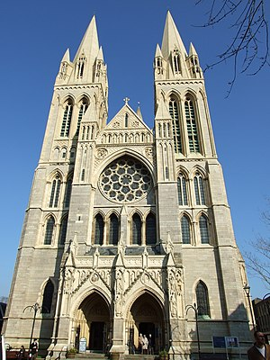 Three-spired cathedrals in the United Kingdom - West front of the Cathedral of the Blessed Virgin Mary, Truro