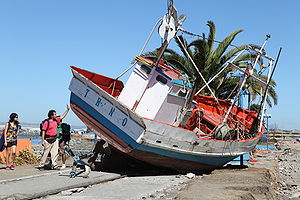 Talcahuano - The 2010 tsunami carried this pleasure boat ashore.