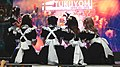 Tukuyomi Maid Café maids taking group selfies on PF30 stage 20190518.jpg