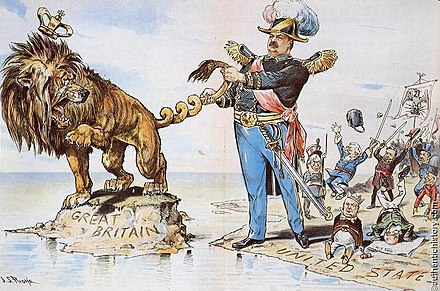 President Cleveland twists the tail of the British Lion regarding Venezuela--a policy hailed by Irish Catholics in the United States; cartoon in Puck by J.S. Pughe, 1895 Twist-British-Tail.jpg