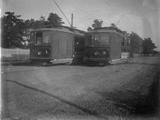 Timeline of trams in Melbourne - Two Victorian Railways trams on the St Kilda to Brighton line, c.1906