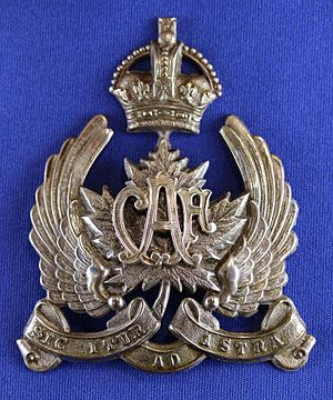 Canadian Air Force (1920–24) - Image: Type 2 for NCO peaked cap, Height 72mm (ex AVM A.E. Godfrey)
