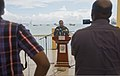 U.S. Navy Capt. Carl Isett, center, speaks to journalists during Cutlass Express 2013 at the Port of Djibouti in Djibouti Nov. 11, 2013 131111-F-NJ596-004.jpg