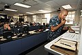 U.S. Navy Lt. Aaron Batiste, right, speaks into a radio while responding to a simulated 6.8 magnitude earthquake as part of exercise Citadel Rumble 2012 in the Emergency Operations Center at Naval Base Point 120807-N-IA840-097.jpg