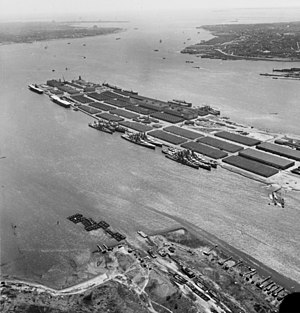 USS Alaska (CB-1) - Reserve fleet in Bayonne; the two large ships at right are Alaska and Guam.