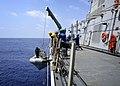 U.S. Sailors aboard the guided missile destroyer USS Paul Hamilton (DDG 60) raise a rigid-hull inflatable boat during Koa Kai 12-2 in the Pacific Ocean April 1, 2012 120401-N-RI884-016.jpg