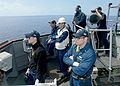 U.S. Sailors assigned to the guided missile destroyer USS Ramage (DDG 61), conduct bridge operations in the Mediterranean Sea April 9, 2014, in support of Noble Dina 2014 140409-N-CH661-628.jpg