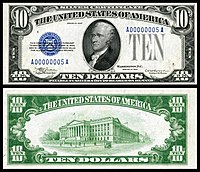 $10 Silver Certificate, Series 1933, Fr.1700, depicting Alexander Hamilton