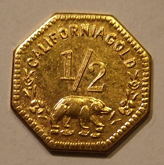 California gold coinage - A California gold half dollar from 1852