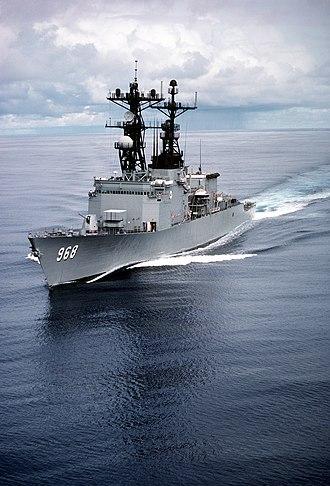USS Arthur W. Radford - Arthur W. Radford c.1981 with ASROC launcher, without CIWS and original mast.