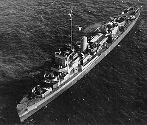 Aerial view of USS Eisner (DE-192), 16 January 1944