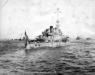 USS Oregon (BB-3) - Oregon in New York Harbor during the Spanish–American War naval review