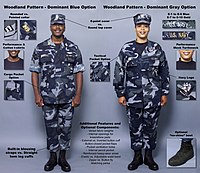 2a768dff845 Infographics released by the U.S. Navy in October 2004 detailing the four  possible new prototype NWU-D and NWU-C concept uniforms.