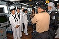 US Navy 050315-N-9860Y-030 From left, Operations Specialist Seaman Veronica Dinse, Yeoman 3rd Class Loribel Valdez and Seaman Recruit Rachel Hoffman, are interviewed by Philippine media.jpg