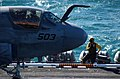 US Navy 051126-N-7241L-011 An Aviation Boatswain's Mate stands by as an EA-6B Prowler.jpg