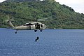US Navy 080831-N-8878B-400 Aviation Warfare Systems Operator 3rd Class Jack Delbridge, from Atlanta, Ga., repels from an MH-60S Sea Hawk helicopter while flying over the waters of Micronesia during Pacific Partnership 2008.jpg