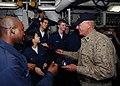 US Navy 081208-N-4236E-110 Retired Gunnery Sgt. R. Lee Ermey visits with Sailors and Marines aboard the multi-purpose amphibious assault ship USS Iwo Jima (LHD 7).jpg