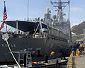 US Navy 090823-N-4879G-162 Sailors assigned to the guided-missile frigate USS Doyle (FFG 39) move Project Handclasp materials onto a Colombian Coast Guard vessel.jpg