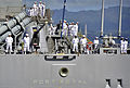 US Navy 110624-N-RI884-019 Sailors aboard USS Port Royal (CG 73) man the rails as the ship departs Joint Base Pearl Harbor-Hickam for a scheduled d.jpg