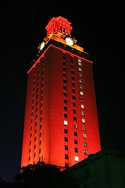 UT tower lit entirely in orange