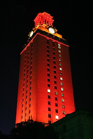 UT Austin Tower lit entirely in orange to cele...