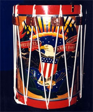 "United States Army Herald Trumpets - The image on the unit's drums is known as ""the Grand Republic"" and was designed by Gus Moeller."