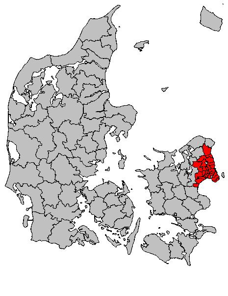 Položaj Kopenhagena u Danskoj