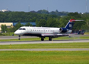 US Airways Express - A US Airways Express Bombardier CRJ200 (operated by Air Wisconsin) at the Portland International Jetport, 2009.