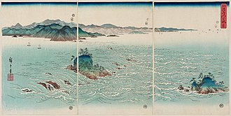 "Hiroshige - View of the Whirlpools at Awa triptych, 1857, part of the series ""Snow, Moon and Flowers"""