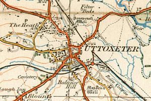 The Heath - A 1921 Ordnance Survey map showing The Heath and Uttoxeter