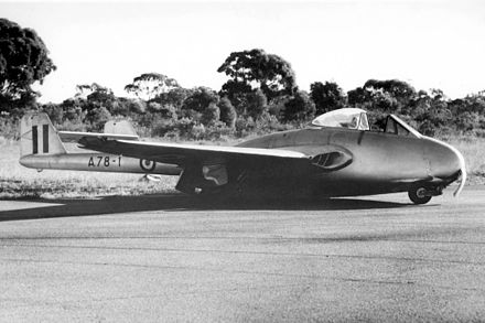 The Vampire F1 A78-1 after crash landing at RAAF Base Point Cook in 1947 VampireF1.A78-1.jpg