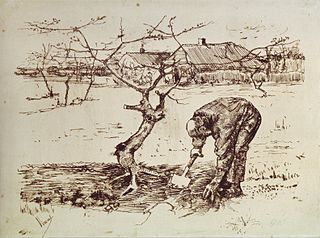 Man Digging in the Orchard