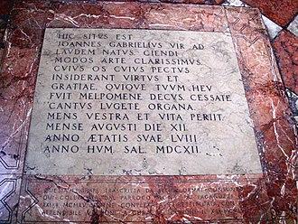 Giovanni Gabrieli - Tomb of Giovanni Gabrieli in Santo Stefano, Venice
