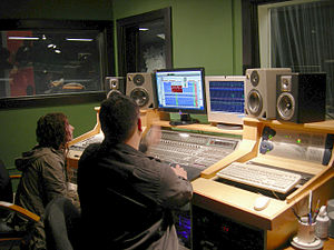 Shana (last name unknown) and Jeff McNulty of BlöödHag in the recording studio at The Vera Project space at Seattle Center, Seattle, Washington. The Vera Project is an all-ages music and art center. digidesign Protools HD Mackie D8B KRK Rokit TAPCO S•8.