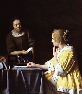 <i>Mistress and Maid</i> 1666 painting by Johannes Vermeer