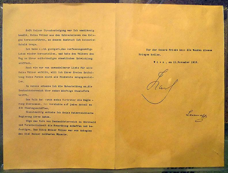 Datei:Verzichtserklärung Karl I. 11.11.1918.jpg