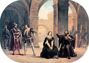 Les vêpres siciliennes - A scene from the Italian version of the opera  (Lithograph by Roberto Focosi)