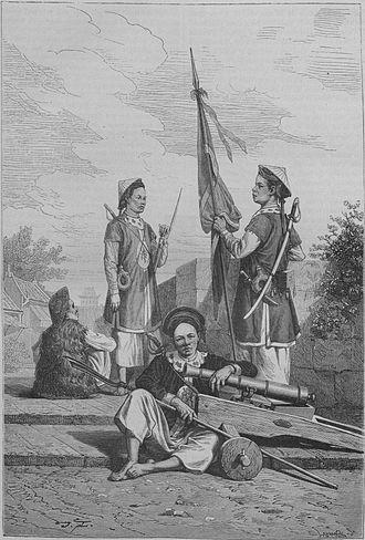 "Tirailleur - Vietnamese ""Tirailleur"" soldiers of Lord Nguyễn Phúc Ánh (Emperor Gia Long), circa 1800."